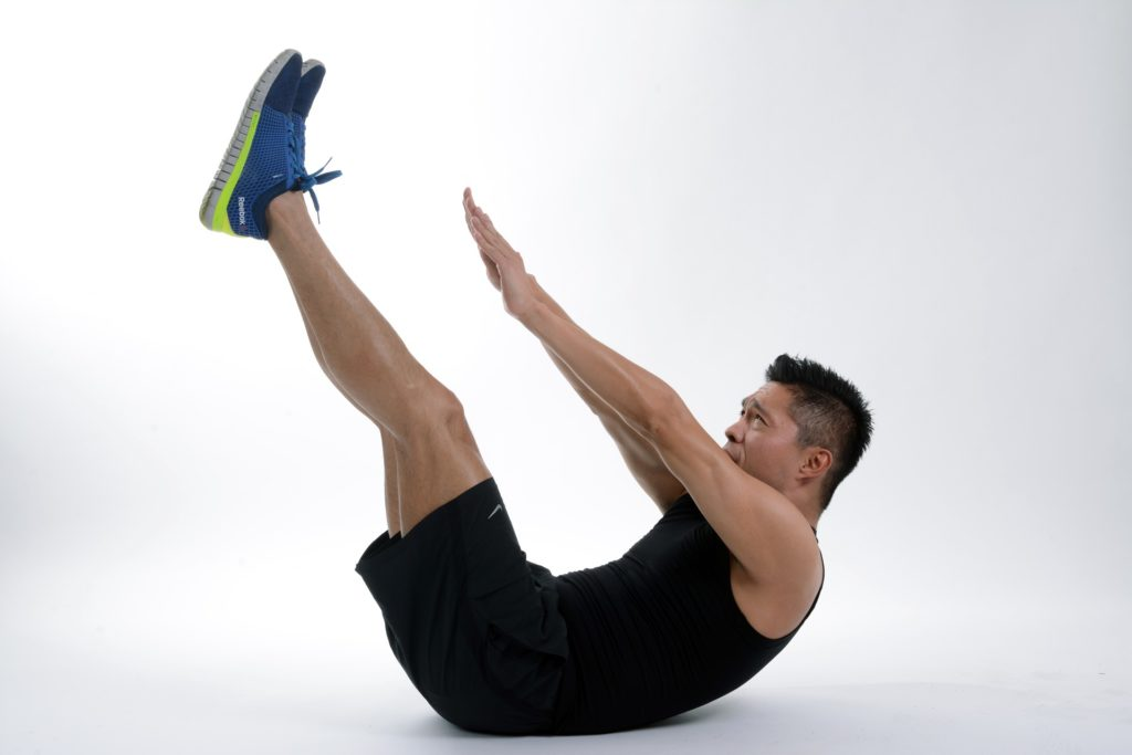 Toe touches for 6 pack abs